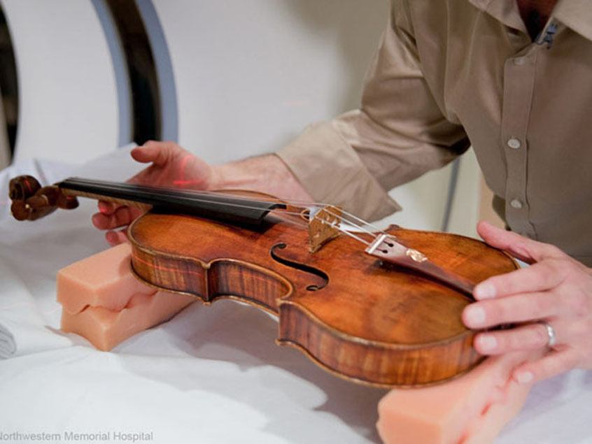 Aligning a violin on the gantry